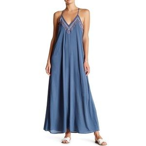 NWT Love Stitch embroidered red white blue maxi